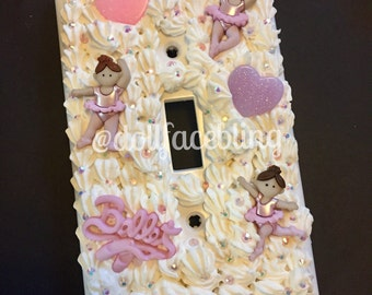 Baby girl ballet pink purple whipped cream decoden bling wallplate