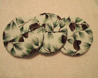 Handmade Winter Evergreen/Pine Cone Wine Glass Coasters, Set Of 6