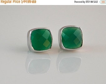 PRESIDENTS DAY SALE Green Onyx Earrings - Onyx Stud Earrings - Post Setting - Emerald Green - Gemstone studs - May Birthstone earrings