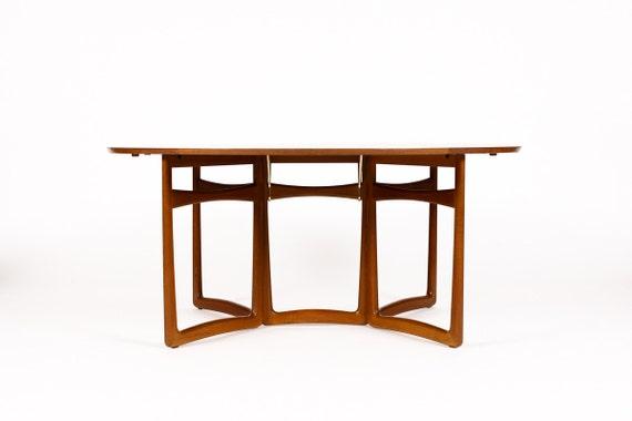 danish modern mid century teak oval drop leaf dining table peter