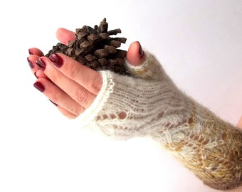 Knit Fingerless Gloves. Nature White and Brown Knit Gloves. Long Gloves. Knitted Wrist Warmers. Knit Arm Warmers. Women Gloves. Hand Knit.