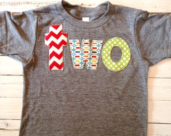Birthday Shirt for 2 year old 2nd Birthday lowercase two with red chevron, pez and green circles