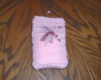 Pretty in pink soap bag, soap saver bag, body scrubber, soap sachet, soap scrubby, soap on a rope, crochet soap sack, soap sock, soap pouch