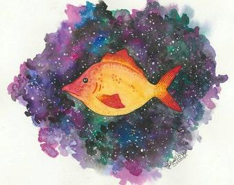 Galaxy Fish Watercolor Print/ space stars splat system universe portrait custom illustration drawing by Eliza George