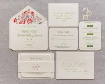 Invitation Sample | Tompkins Letterpress Invitation Suite | Coral and Green Wedding Invitation - Sample Only