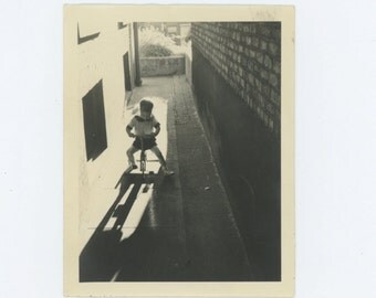 Boy on Tricycle, c1940s Vintage Snapshot Photo (66475)