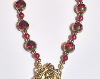 Handmade Single Decade Rosary Chaplet - Red & Gold Czech Beads, Tiny Assorted Pearls, Gold/Red Accents