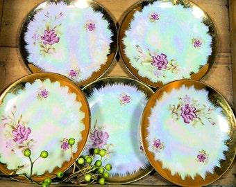 Five Vintage Specialita di Venezia Lusterware Dessert Plates Carnations