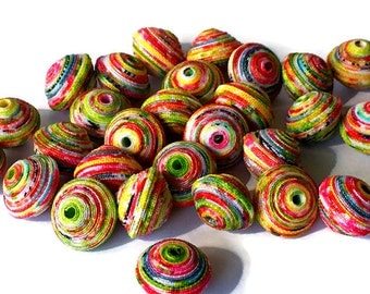 Textile Beads, Fabric Beads, Fiber Beads, 1 cm White,Yellow, Red & Green Multicolored Handcrafted Fabric Beads, Unique Beads