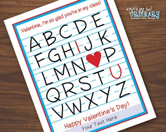 Alphabet Valentine Cards, Editable ABC, I Heart U Valentines, Printable Class, Teacher or Friend Valentines, INSTANT DOWNLOAD digital file