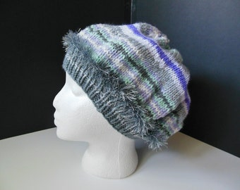 Lavender Gray Mint Pastel Fun Fur OOAK Hand Knit Faux Beret Slouchy Hat Child Teen