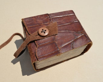 Handmade Bound Leather Book Sculpture Coffee Table Book (478)