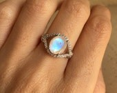 Oval Statement Moonstone Ring- Rainbow Moonstone Promise Ring- Moonstone Engagement Ring- Halo Solitaire Faceted Ring