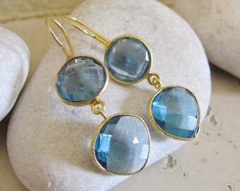 London Blue Topaz Earrings- Gold Topaz Earrings- Blue Quartz Earrings- Blue Stone Earrings- Stone Earrings- Silver Gemstone Earrings