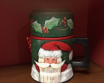 Hand Painted Old World Santa Saint Nick vintage coffee pot