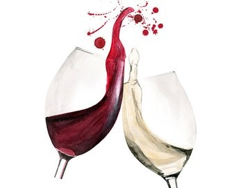 Wine Tasting, print from original watercolor and mixed media fashion illustration by Dena Cooper