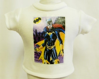 Batgirl Theme Silver Glitter Transfer T-Shirt For 16 or 18 Inch Dolls Like The American Girl Or Bitty Baby