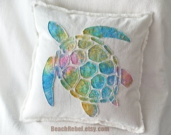 """Sea turtle applique pillow cover in rainbow tie dye swirls batik and bleached white distressed denim boho pillow cover 18"""""""