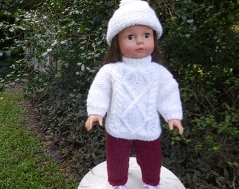 """Hand knitted Irish sweater with hat in white with dark red pants for 18"""" dolls"""
