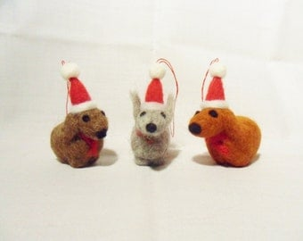 Needle Felted Christmas Decorations - set of 3 - Christmas dogs- felt Christmas ornaments - felted christmas animals