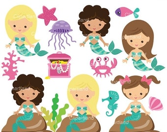 ON SALE INSTANT Download. Cm_46_mermaids. Mermaids clip art. Personal and commercial use.