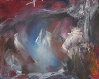"""Abstract by Lisa Schulaner. 20"""" x 16"""" acrylic on canvas."""