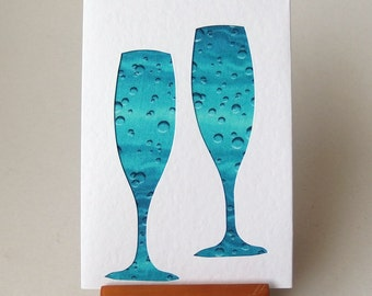 """Wine Glasses Fabric Card  6"""" x 4"""" with envelope. Blank Note Card. Champagne glasses celebration party card. aqua bubbles card."""