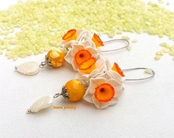 Narcissus Flower Earrings Dangle Earrings Flower Jewelry White Yellow Spring Jewelry Polymer Jewelry Handmade Earrings Gift For Her Floral