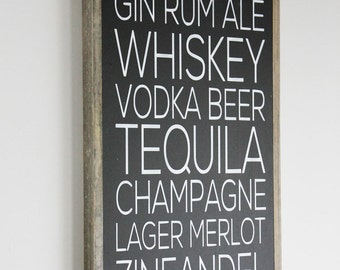 Alcoholic Drinks Wood Sign Rustic Decor Wedding Gift Housewarming Gift Beer Wine Whiskey Vodka Farmhouse Decor
