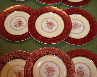 Steubenville Maroon Gold Scroll Filigree Border Dinner Plates #1112, Set of 9, RARE