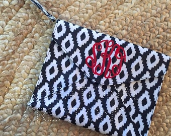 Monogrammed Vinyl Coated Clutch, Leopard Clutch, Monogram Clutch, Clutch, Gifts for Her