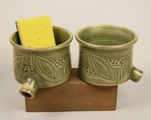 Sink Pot for draining scrubbies, Green w carved leaves,  porcelain, thrown pottery, kitchen aid