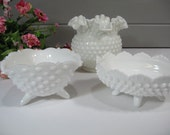 Milk Glass Bowls, Hobnail Milk Glass Bowl, Wedding Milk Glass, Instant Collection, Set of Three