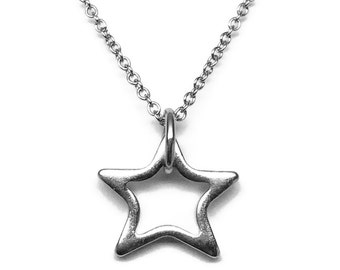Silver Star Necklace, Stainless Steel Jewelry, Simple Charm Necklace, Great for Layering!
