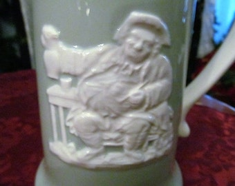 VINTAGE Stein Spode Fortuna England Green and White Wedgewood Style