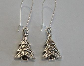 Cute Antique Silver Christmas Tree Earrings