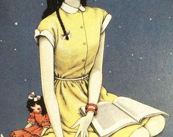 1960s JUNICHI NAKAHARA READING Big Eyed Girl with Dolly Print Perfect for Framing