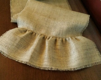 Natural Burlap Table Runner w/ Ruffled ends and Fringed Edges