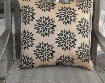 Natural & Black Starburst Print Burlap Pillow Cover