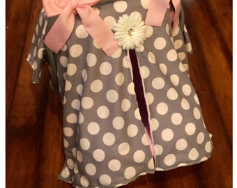 Grey large polka dot and pink minky Car seat canopy