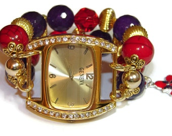 Royal Red Hat Lady Chunky Beaded Watch in Gold - Interchangeable Watch - BeadsnTime - Red Hat Gift - Unique Watch - Red Hat Apple Watch Band