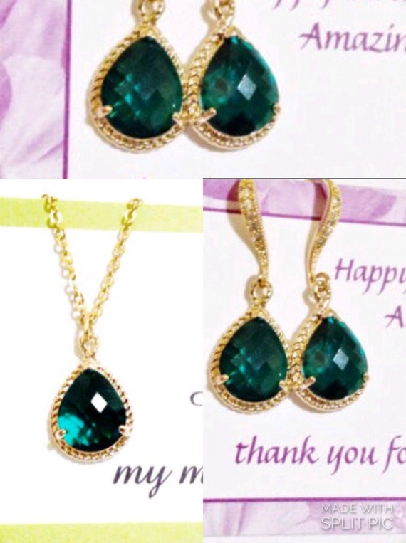set of 5 emerald green gold necklace and earrings set,set of 5 bridesmaid jewelry,bridesmaid jewelry set of 5,emerald green  jewelry set