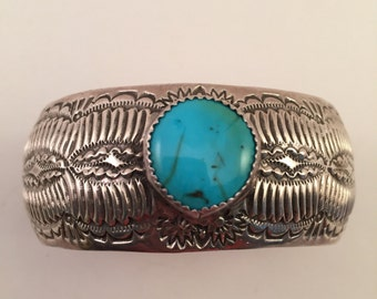 SALE Vintage Navajo Wilbert Benally Sterling Stamp-ede Turquoise Cuff