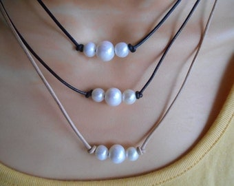 Three Pearl Leather Choker, Pearl Choker, Three Pearl Necklace, Pearl Necklace, Single Pearl Necklace, Pearls & Leather