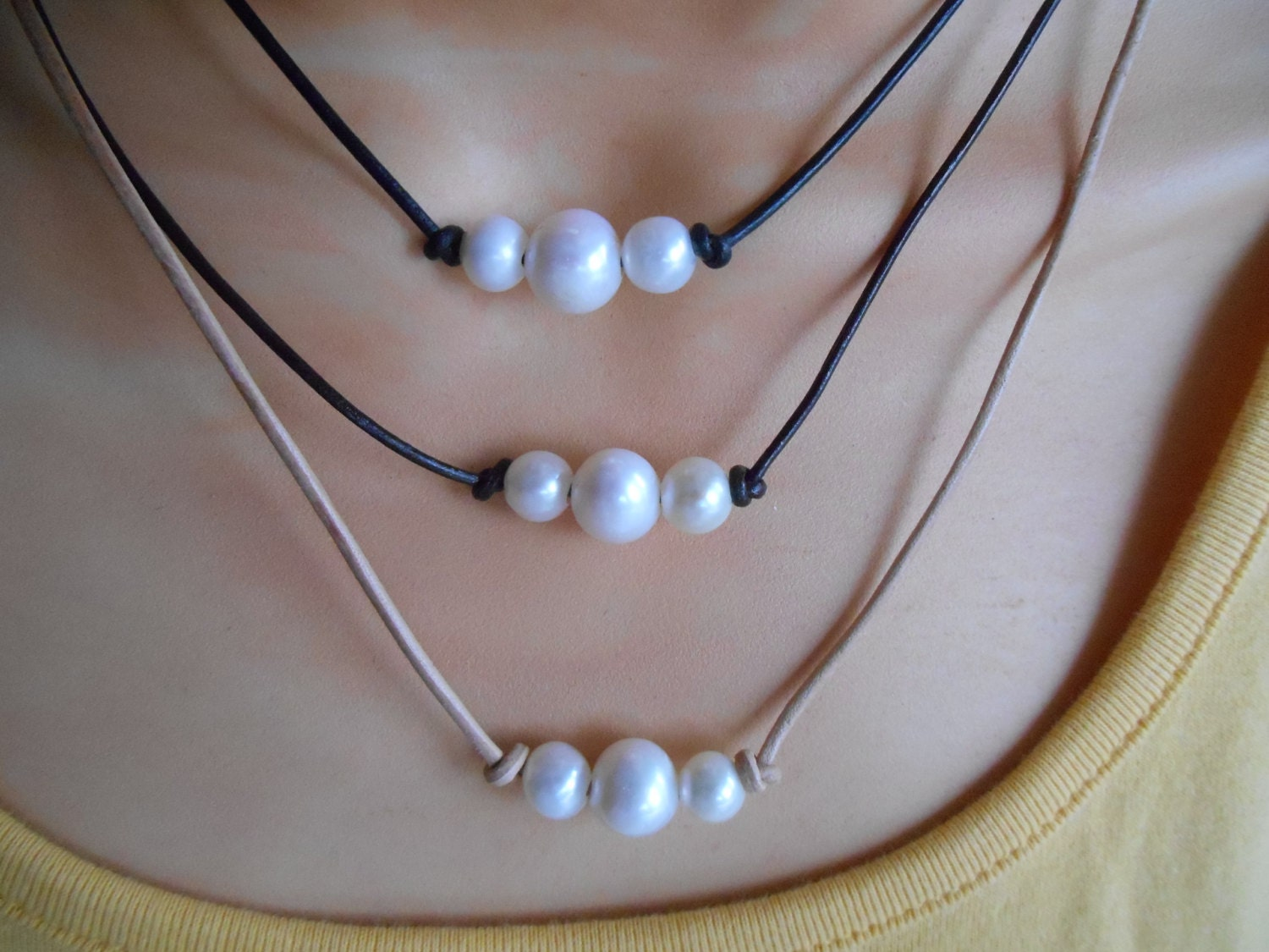 Three Pearl Leather Choker Pearl Choker Three Pearl