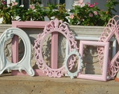Shabby Chic Frames - Set Of Pink And White Picture Frames - Picture Frame Collection