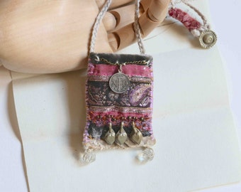 "textile pendant ""in the ruins of the old abbaye"""