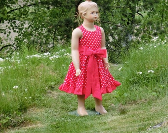 Girls red polka dot dress. Girls Christmas dress. Toddler girls red dress. Girls cotton dress, girls ruffle dress. Toddler casual dress