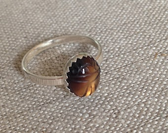 Little Agate Scarab Ring - Sterling Silver