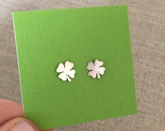 Tiny Four Leaf Clovers - Sterling Silver Stud Earrings